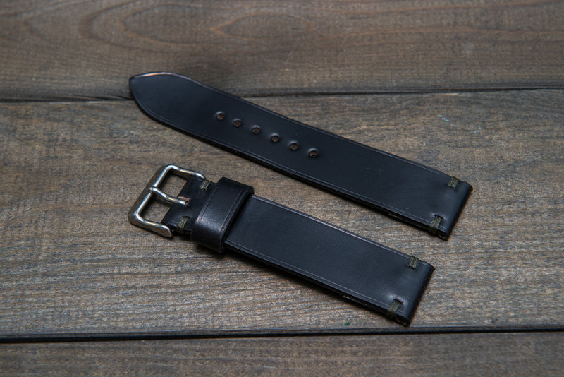 Horween Shell Cordovan Black leather watch strap, handmade in Finland - 10 mm, 12 mm, 14 mm, 16mm, 17 mm, 18mm, 19 mm, 20mm, 21 mm, 22mm, 23 mm, 24mm, 25 mm, 26 mm. - finwatchstraps