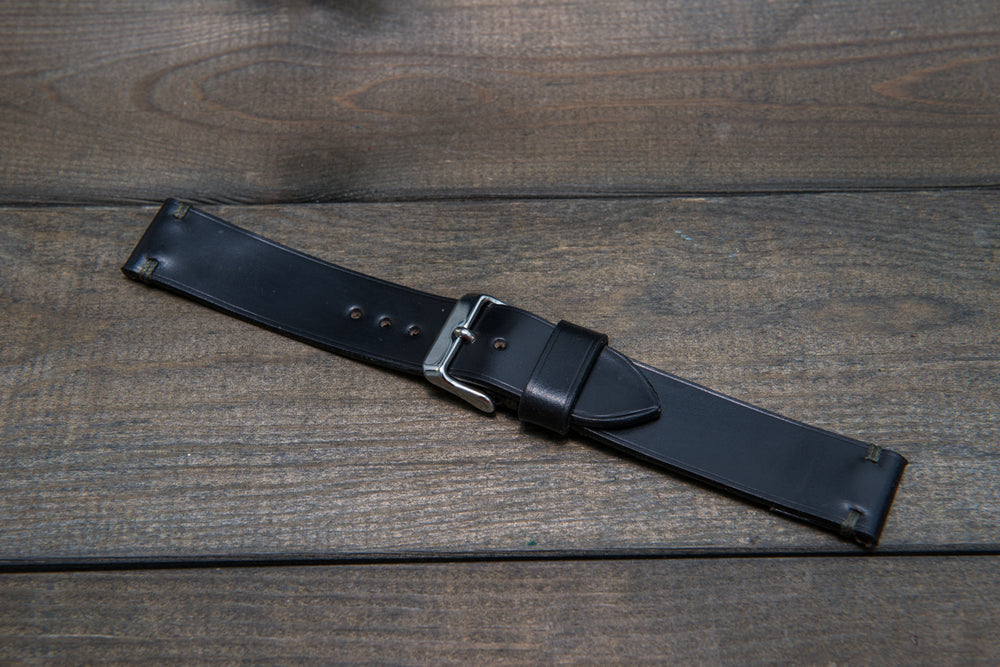 Shell Cordovan Black leather watch strap, handmade in Finland - 10 mm, 12 mm, 14 mm, 16mm, 17 mm, 18mm, 19 mm, 20mm, 21 mm, 22mm, 23 mm, 24mm, 25 mm, 26 mm. - finwatchstraps