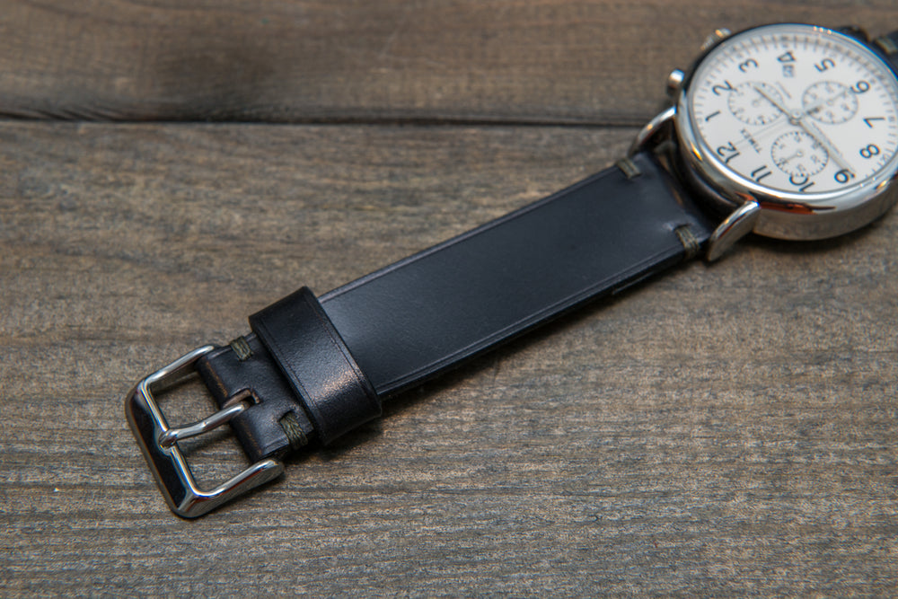 Horween Shell Cordovan Black leather watch strap, handmade in Finland - 10 mm, 12 mm, 14 mm, 16mm, 17 mm, 18mm, 19 mm, 20mm, 21 mm, 22mm, 23 mm, 24mm, 25 mm, 26 mm.