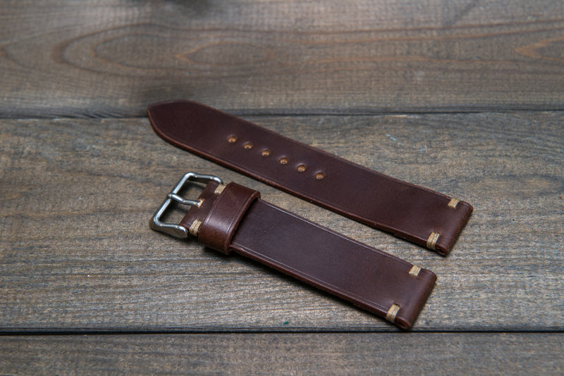Shell Cordovan leather watch strap, handmade in Finland - 10 mm, 12 mm, 14 mm, 16mm, 17 mm, 18mm, 19 mm, 20mm, 21 mm, 22mm, 23 mm, 24mm, 25 mm, 26 mm.