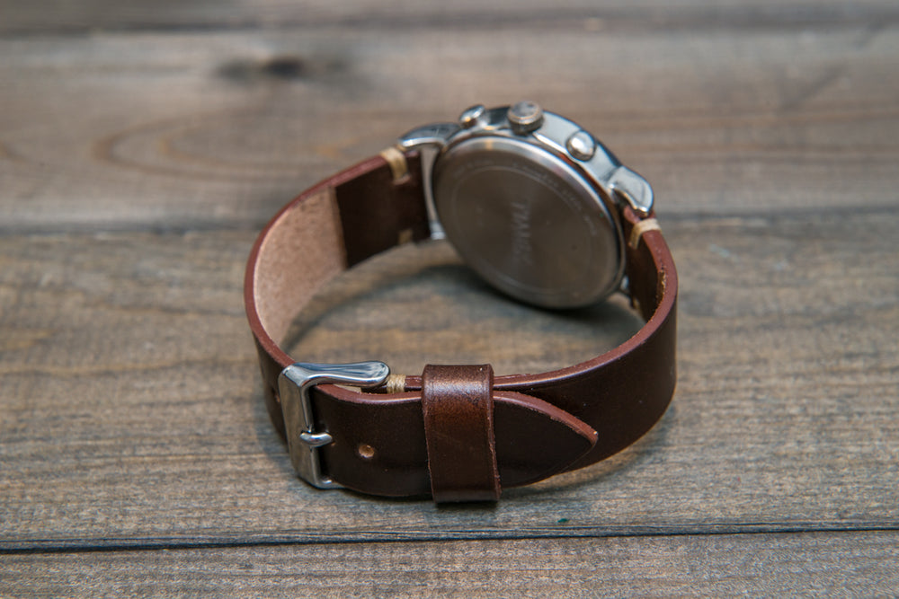 Shell Cordovan leather watch strap, handmade in Finland - 10 mm, 12 mm, 14 mm, 16mm, 17 mm, 18mm, 19 mm, 20mm, 21 mm, 22mm, 23 mm, 24mm, 25 mm, 26 mm. - finwatchstraps