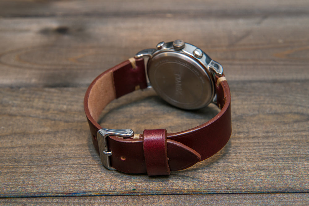 Shell Cordovan Bordo leather watch strap, handmade in Finland - 10 mm, 12 mm, 14 mm, 16mm, 17 mm, 18mm, 19 mm, 20mm, 21 mm, 22mm, 23 mm, 24mm, 25 mm, 26 mm. - finwatchstraps