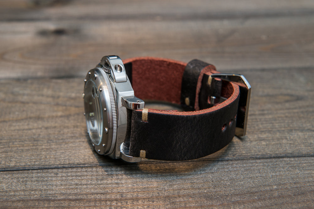 Italian leather watch strap 4 mm thick, Dark Plum, handmade in Finland -  16mm, 17 mm, 18mm, 19 mm, 20mm, 21mm, 22mm, 23 mm, 24mm, 25 mm, 26 mm. - finwatchstraps