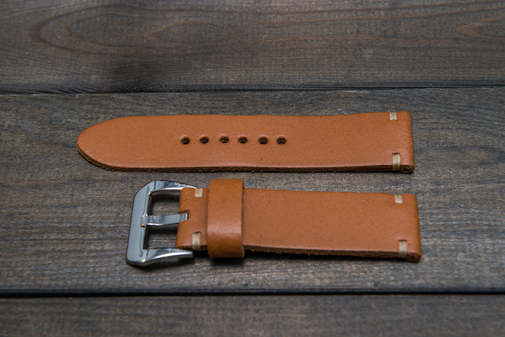 Italian leather watch strap 4 mm thick, English Saddle color, handmade in Finland -  16mm, 17 mm, 18mm, 19 mm, 20mm, 21mm, 22mm, 23 mm, 24mm, 25 mm, 26 mm. - finwatchstraps
