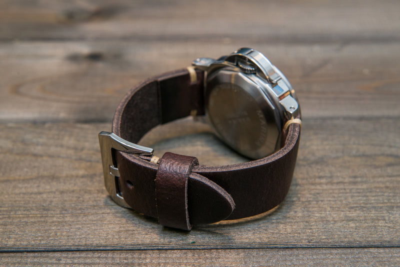 Italian leather watch strap 4 mm thick, Dark Brown, handmade in Finland -  16mm, 17 mm, 18mm, 19 mm, 20mm, 21mm, 22mm, 23 mm, 24mm, 25 mm, 26 mm. - finwatchstraps