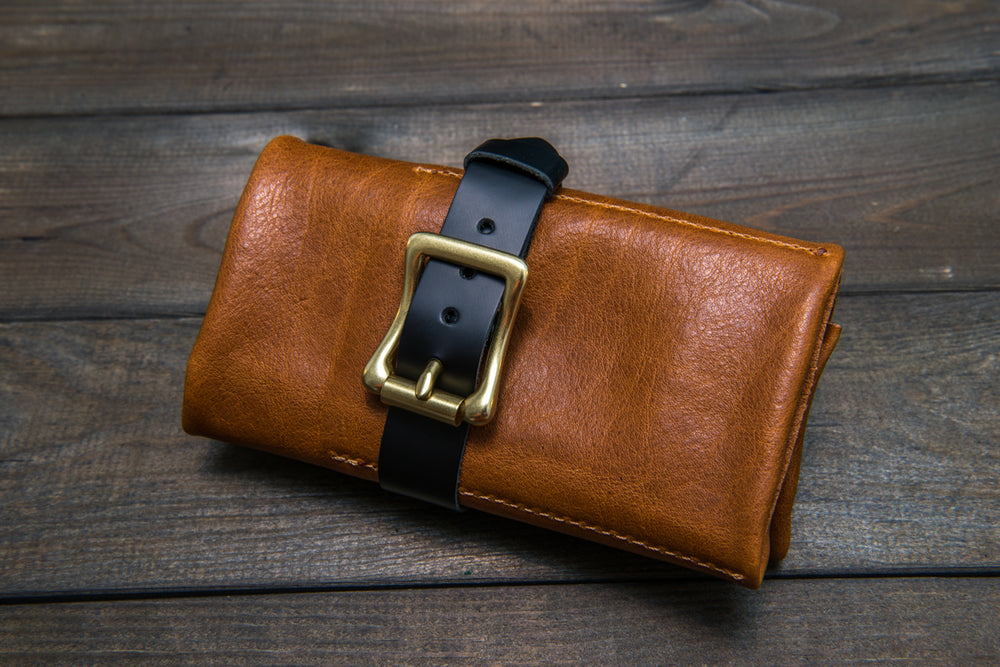 Italian calf Buttero leather (English Saddle color) watch roll / watch case for wrist watch organizing - finwatchstraps