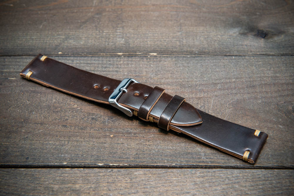Horween Shell Cordovan leather watch strap, handmade in Finland - 10-26 mm.