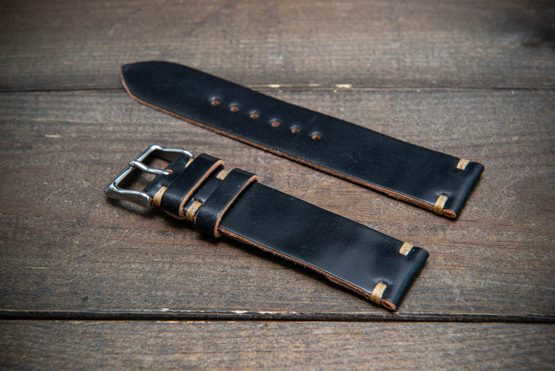 Horween Shell Cordovan Black leather watch strap, handmade in Finland - 10-26 mm.