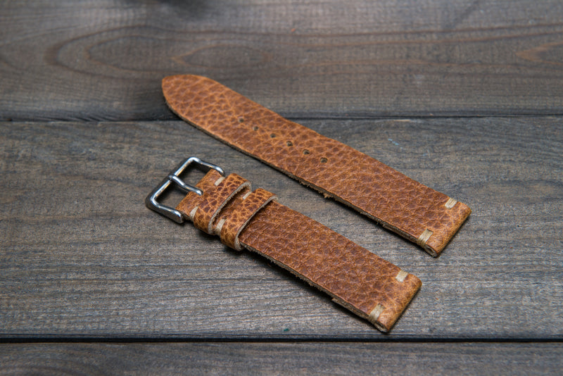Buckaroo Tan  Horween leather watch strap, handmade in Finland - 10 mm, 12 mm, 14 mm, 16mm, 17 mm, 18mm, 19 mm, 20mm, 21 mm, 22mm, 23 mm, 24mm, 25 mm, 26mm.