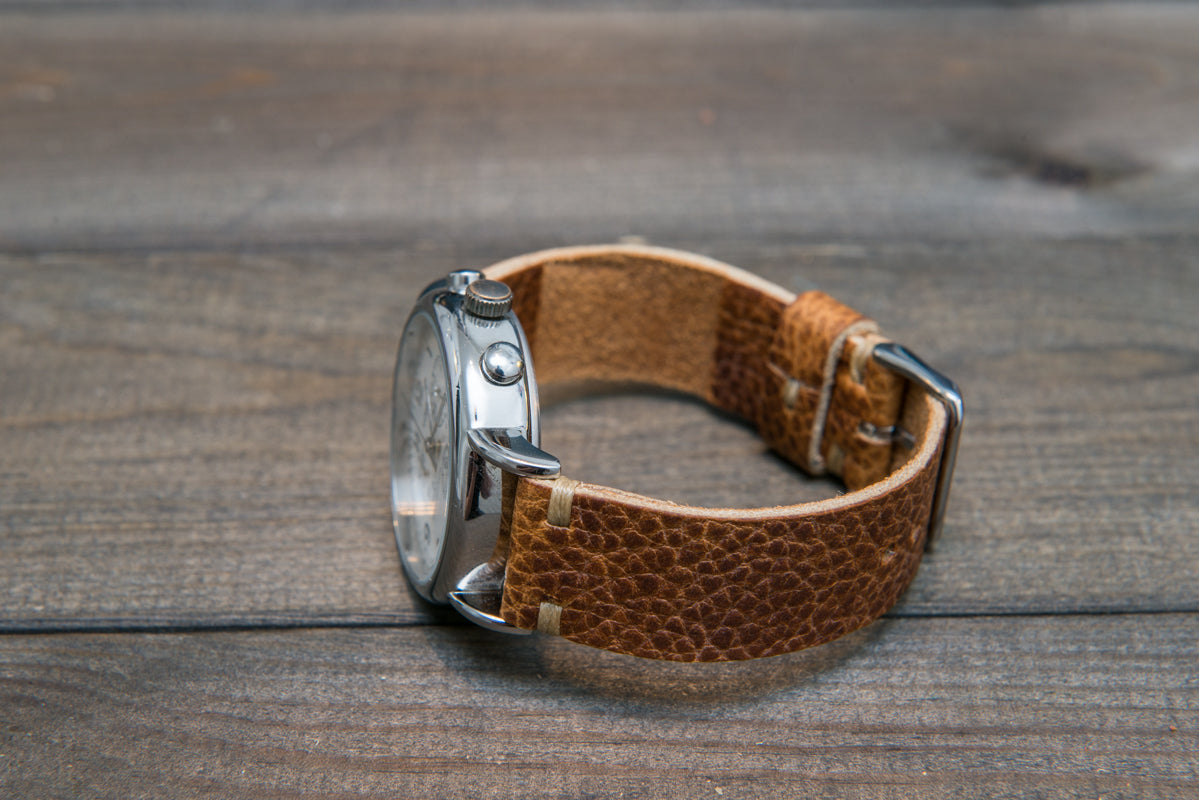 Buckaroo Tan  Horween leather watch strap, handmade in Finland - 10 mm, 12 mm, 14 mm, 16mm, 17 mm, 18mm, 19 mm, 20mm, 21 mm, 22mm, 23 mm, 24mm, 25 mm, 26mm. - finwatchstraps