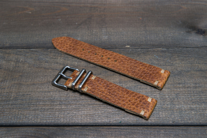 Buckaroo Tan  Horween leather watch strap, handmade in Finland - 16mm, 17 mm, 18mm, 19 mm, 20mm, 21 mm, 22mm, 23 mm, 24mm. - finwatchstraps