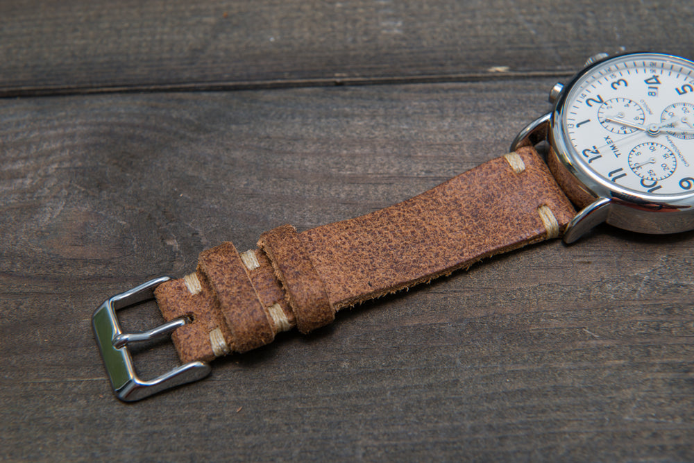 Suede vintage leather watch strap (Cognac), handmade in Finland - 10mm, 12 mm, 14 mm, 16mm, 17 mm, 18mm, 19 mm, 20mm, 21mm, 22mm, 23 mm,  24mm, 25 mm, 26 mm.