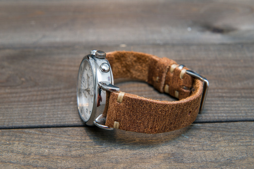 Suede vintage leather watch strap (Crazy Cow, Cognac), handmade in Finland - finwatchstraps