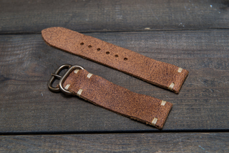 Suede vintage leather watch strap (Cognac), handmade in Finland -  16mm, 17 mm, 18mm, 19 mm, 20mm, 21mm, 22mm, 23 mm,  24mm, 25 mm, 26 mm.