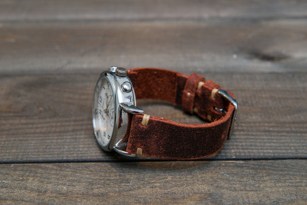 Suede vintage leather watch strap (Terracotta), handmade in Finland - 10mm, 12 mm, 14 mm, 16mm, 17 mm, 18mm, 19 mm, 20mm, 21mm, 22mm, 23 mm,  24mm, 25 mm, 26 mm. - finwatchstraps