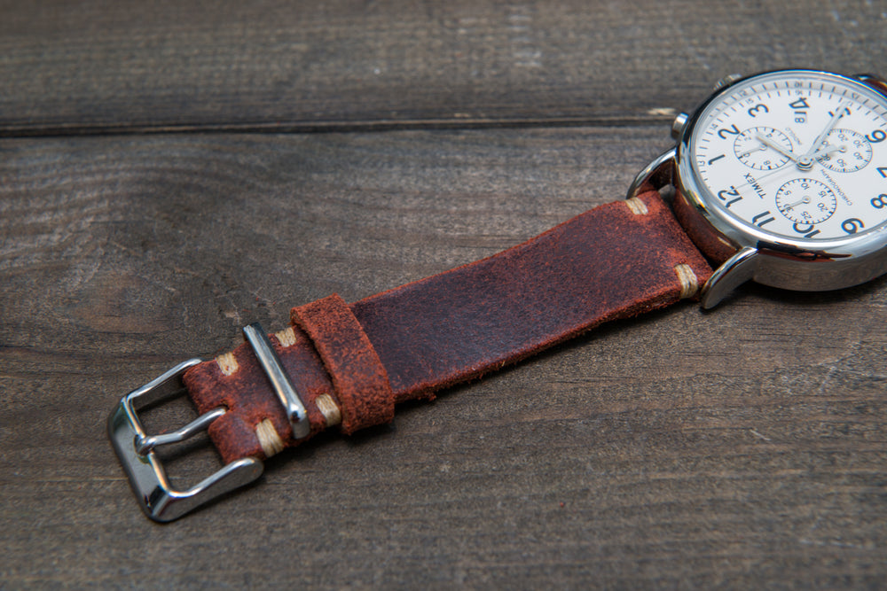 Suede vintage leather watch strap (Terracotta), handmade in Finland - 16mm, 17 mm, 18mm, 19 mm, 20mm, 21mm, 22mm, 23 mm,  24mm.