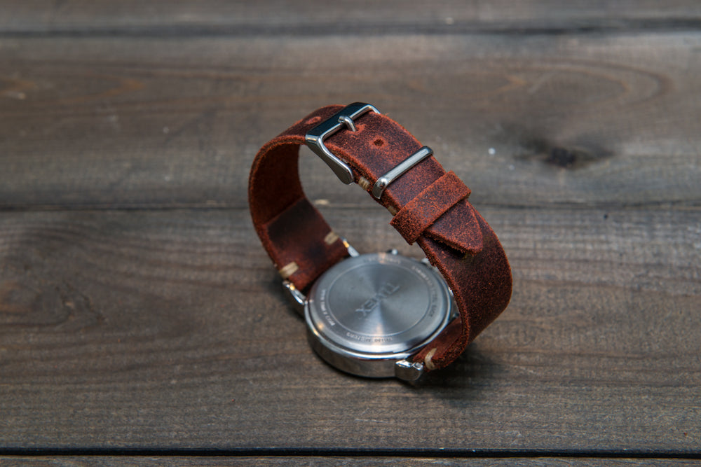 Suede vintage leather watch strap (Terracotta), handmade in Finland - 16mm, 17 mm, 18mm, 19 mm, 20mm, 21mm, 22mm, 23 mm,  24mm. - finwatchstraps