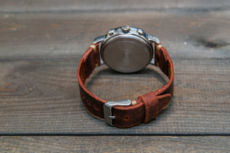 Suede vintage leather watch strap (Terracotta), handmade in Finland - 10mm, 12 mm, 14 mm, 16mm, 17 mm, 18mm, 19 mm, 20mm, 21mm, 22mm, 23 mm,  24mm, 25 mm, 26 mm.