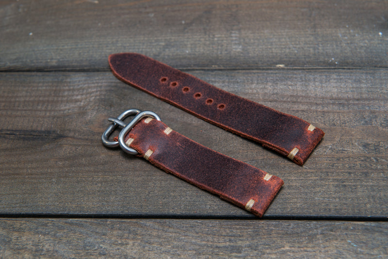 Suede vintage leather watch strap (Teracotta), handmade in Finland - 16mm, 17 mm, 18mm, 19 mm, 20mm, 21mm, 22mm, 23 mm,  24mm.