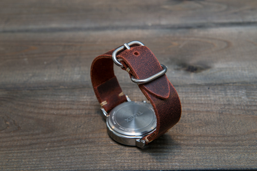 Suede vintage leather watch strap (Teracotta), handmade in Finland - 16mm, 17 mm, 18mm, 19 mm, 20mm, 21mm, 22mm, 23 mm,  24mm. - finwatchstraps