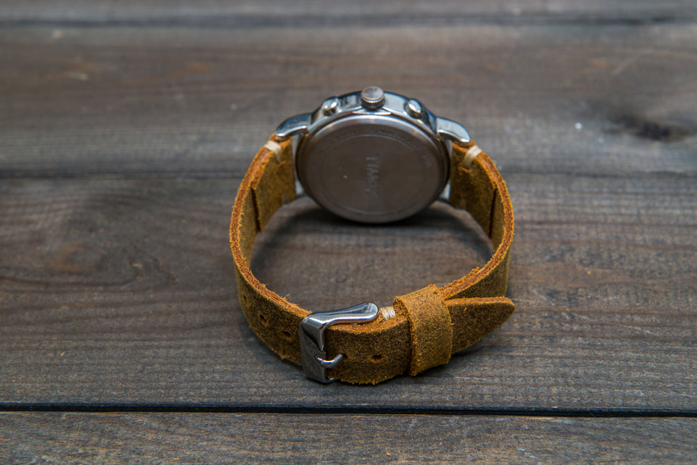 Vintage suede leather watch strap (Cuba Commander), handmade in Finland - 10mm, 12 mm, 14 mm, 16mm, 17 mm, 18mm, 19 mm, 20mm, 21mm, 22mm, 23 mm,  24mm, 25 mm, 26 mm.