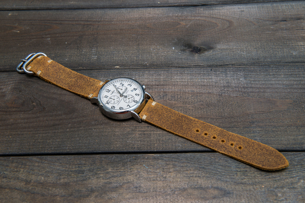 Vintage suede leather watch strap (Cuba Commander), handmade in Finland - 16mm, 17 mm, 18mm, 19 mm, 20mm, 21mm, 22mm, 23 mm,  24mm, 25 mm, 26 mm. - finwatchstraps
