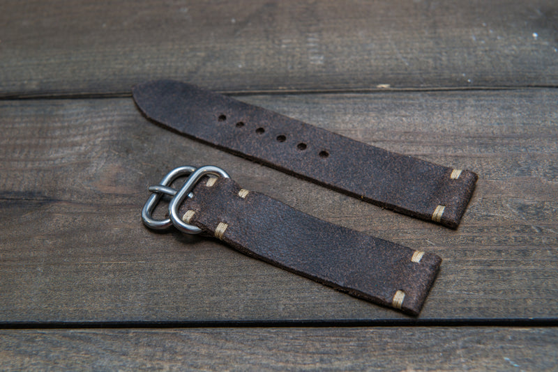 Suede vintage leather watch strap (Stone Monaux), handmade in Finland - 10mm, 12 mm, 14 mm, 16mm, 17 mm, 18mm, 19 mm, 20mm, 21mm, 22mm, 23 mm,  24mm, 25 mm, 26 mm.
