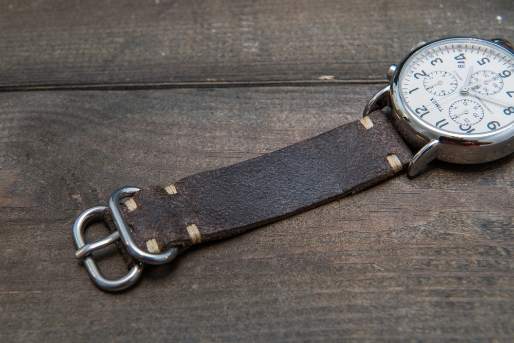 Suede vintage leather watch strap (Stone Monaux), handmade in Finland - 10mm, 12 mm, 14 mm, 16mm, 17 mm, 18mm, 19 mm, 20mm, 21mm, 22mm, 23 mm,  24mm, 25 mm, 26 mm. - finwatchstraps