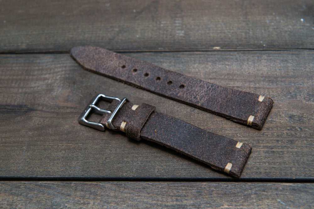 Suede vintage leather watch strap (Stone Monaux), handmade in Finland - 16mm, 17 mm, 18mm, 19 mm, 20mm, 21mm, 22mm, 23 mm,  24mm. - finwatchstraps