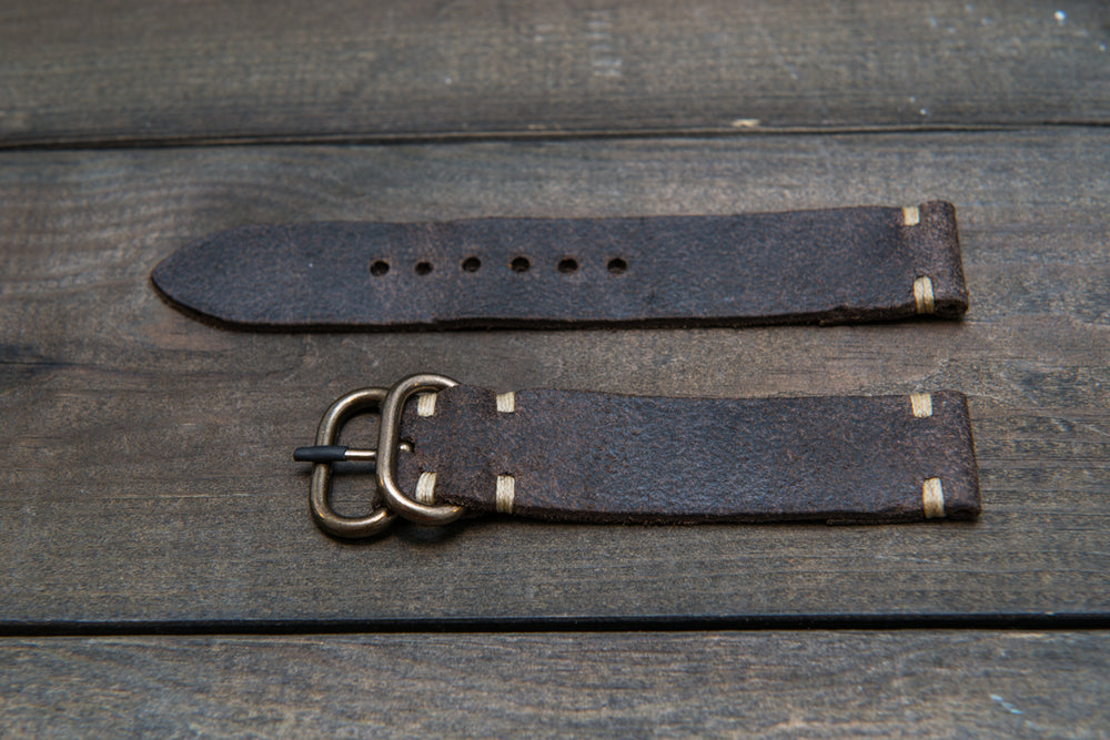 Suede vintage leather watch strap (Stone Monaux), handmade in Finland - 16mm, 17 mm, 18mm, 19 mm, 20mm, 21mm, 22mm, 23 mm,  24mm.