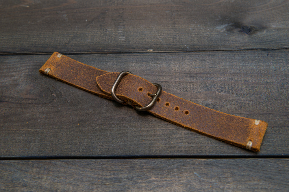 Suede vintage leather watch strap (Wheatbuck), brass buckle, handmade in Finland - 16mm, 17 mm, 18mm, 19 mm, 20mm, 21mm, 22mm, 23 mm,  24mm. - finwatchstraps