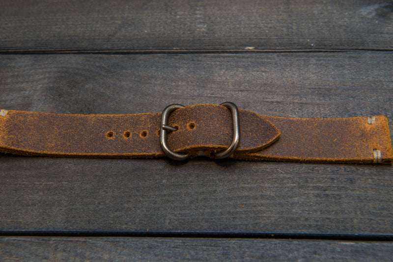 Suede vintage leather watch strap (Wheatbuck), brass buckle, handmade in Finland - 16mm, 17 mm, 18mm, 19 mm, 20mm, 21mm, 22mm, 23 mm,  24mm.