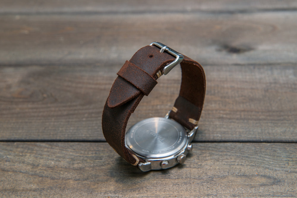 Suede vintage leather watch strap (SNUFF), handmade in Finland - 10mm, 12mm, 14mm, 16mm, 17 mm, 18mm, 19 mm, 20mm, 21mm, 22mm, 23 mm,  24mm. - finwatchstraps