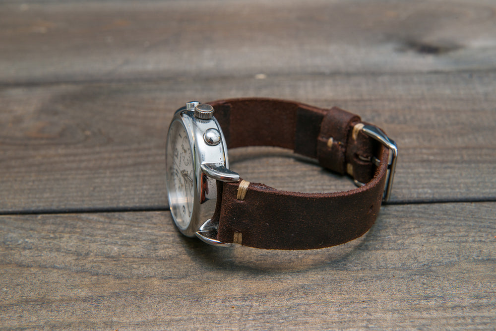 Suede vintage leather watch strap (SNUFF), handmade in Finland - 10mm, 12mm, 14mm, 16mm, 17 mm, 18mm, 19 mm, 20mm, 21mm, 22mm, 23 mm,  24mm.