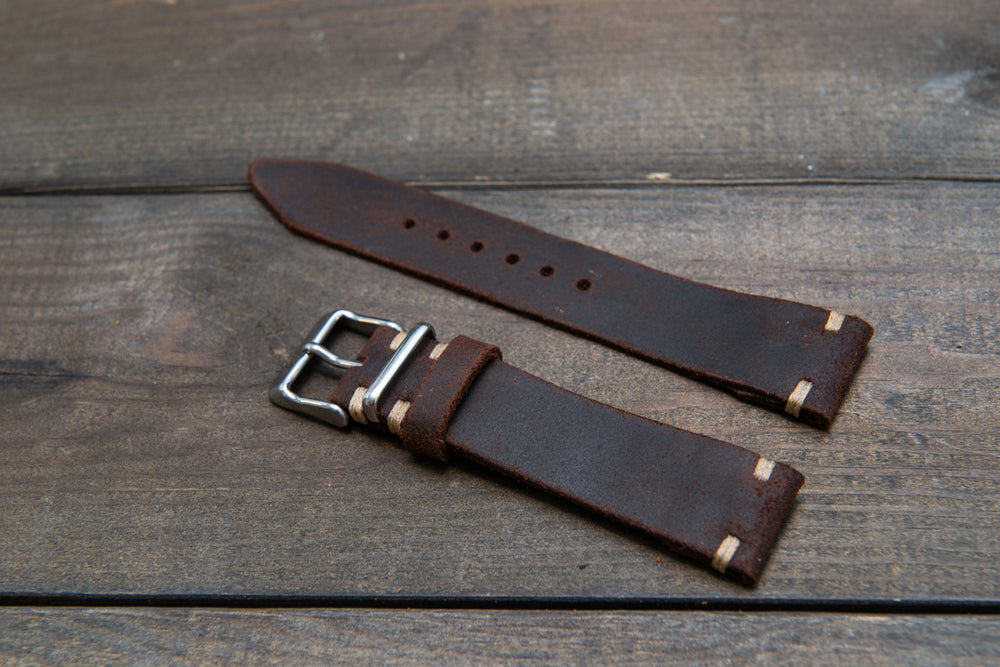 Suede vintage leather watch strap (SNUFF), handmade in Finland - 16mm, 17 mm, 18mm, 19 mm, 20mm, 21mm, 22mm, 23 mm,  24mm. - finwatchstraps