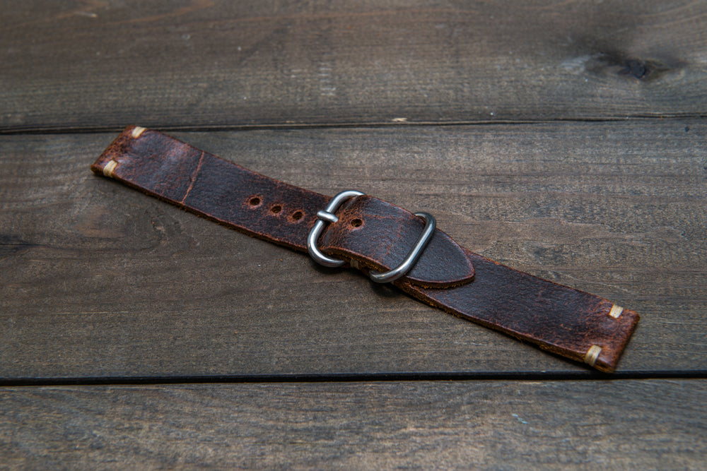 Suede vintage leather watch strap (Crazy cow), handmade in Finland - 16mm, 17 mm, 18mm, 19 mm, 20mm, 21mm, 22mm, 23 mm,  24mm. - finwatchstraps