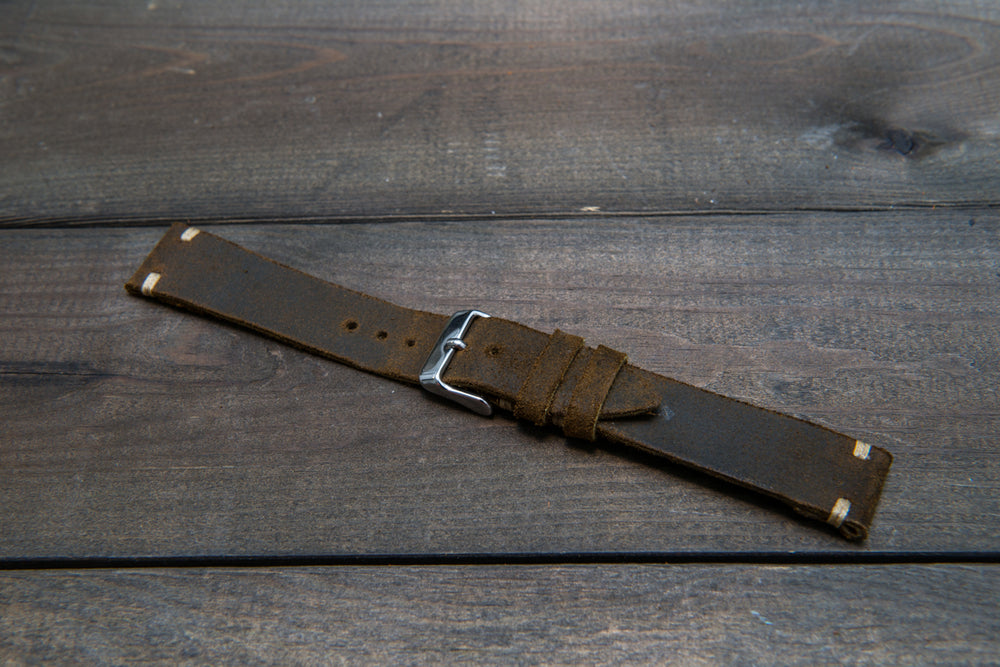 Suede vintage leather watch strap (Chase commander), handmade in Finland - 10mm, 12 mm, 14 mm, 16mm, 17 mm, 18mm, 19 mm, 20mm, 21mm, 22mm, 23 mm,  24mm, 25 mm, 26 mm.