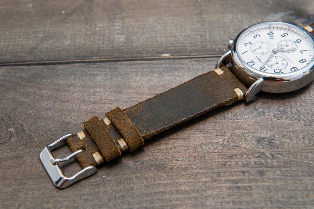 Suede vintage leather watch strap (Chase commander), handmade in Finland - 10mm, 12 mm, 14 mm, 16mm, 17 mm, 18mm, 19 mm, 20mm, 21mm, 22mm, 23 mm,  24mm, 25 mm, 26 mm. - finwatchstraps