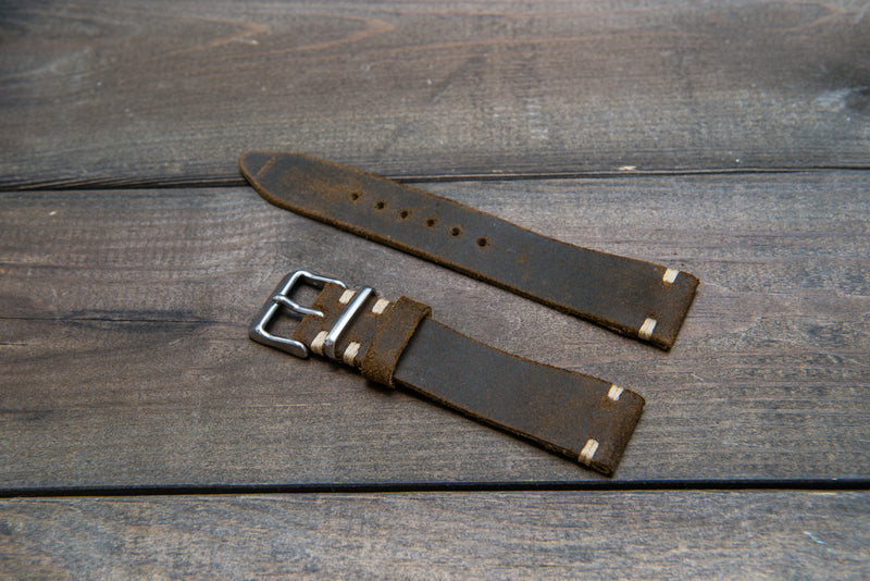 Suede vintage leather watch strap (Chase commander), handmade in Finland - 16mm, 17 mm, 18mm, 19 mm, 20mm, 21mm, 22mm, 23 mm,  24 mm.
