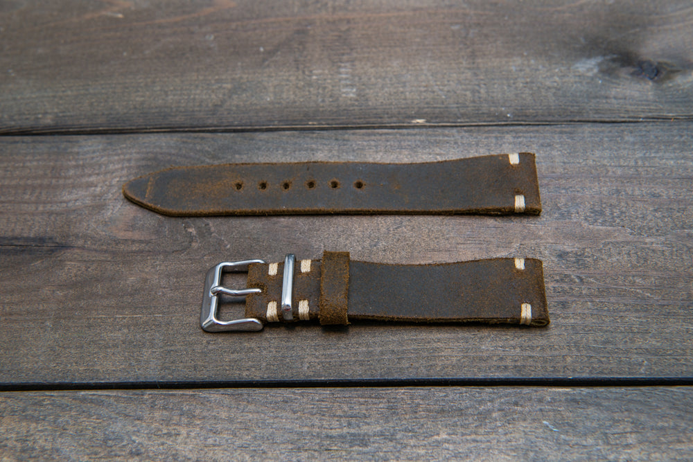 Suede vintage leather watch strap (Chase commander), handmade in Finland - 16mm, 17 mm, 18mm, 19 mm, 20mm, 21mm, 22mm, 23 mm,  24 mm. - finwatchstraps