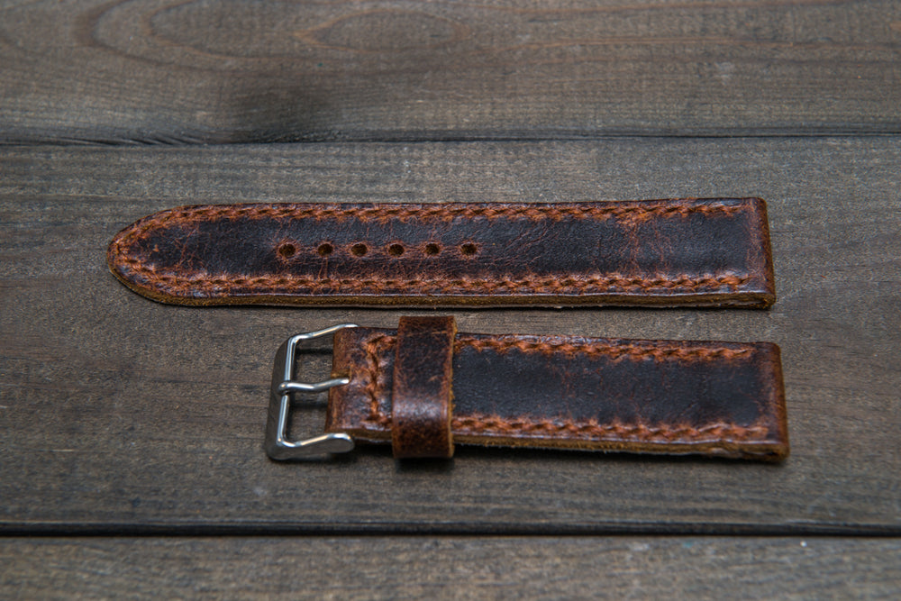 Suede vintage leather watch strap (Crazy Cow), handmade in Finland - 22 mm, 120-80 mm
