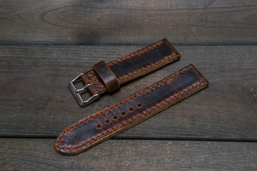 Suede vintage leather watch strap (Crazy Cow), handmade in Finland - 22 mm, 120-80 mm - finwatchstraps