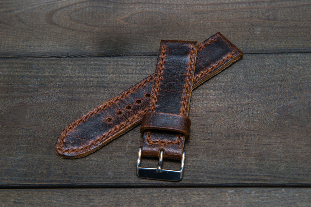 Suede vintage leather watch strap (Crazy Cow), handmade in Finland -14 mm, 16mm, 17 mm, 18mm, 19 mm, 20mm, 21mm, 22mm, 23 mm,  24mm, 25 mm, 26 mm. - finwatchstraps