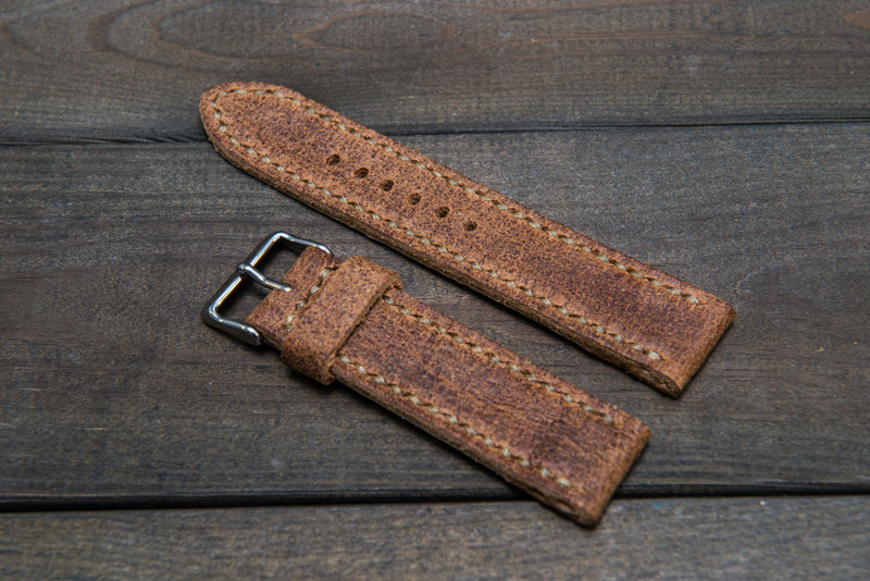 Suede vintage leather watch strap (Cognac Monaux), handmade in Finland -14 mm, 16mm, 17 mm, 18mm, 19 mm, 20mm, 21mm, 22mm, 23 mm,  24mm, 25 mm, 26 mm. - finwatchstraps