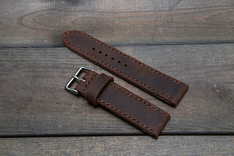 Suede vintage leather watch strap (SNUFF), handmade in Finland -14 mm, 16mm, 17 mm, 18mm, 19 mm, 20mm, 21mm, 22mm, 23 mm,  24mm, 25 mm, 26 mm.