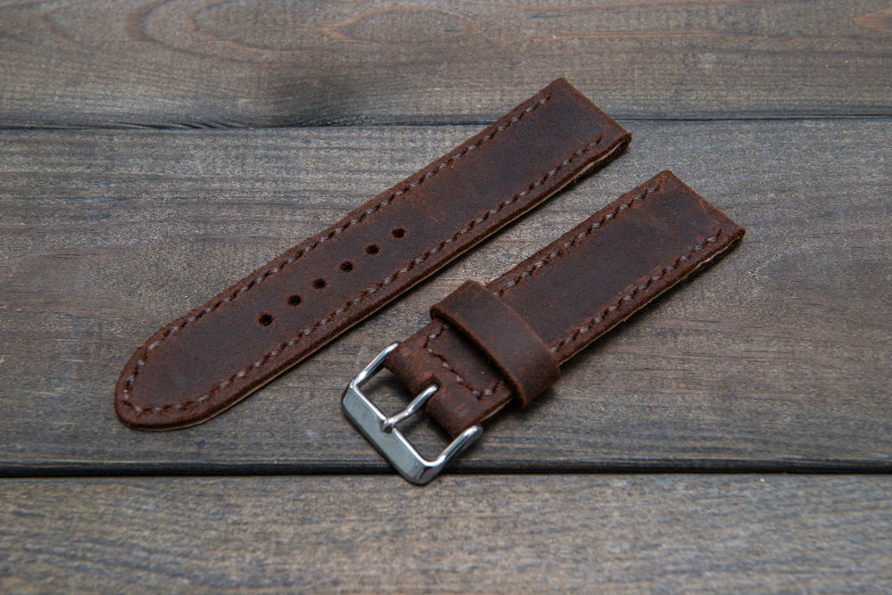 Suede vintage leather watch strap (SNUFF), handmade in Finland -14 mm, 16mm, 17 mm, 18mm, 19 mm, 20mm, 21mm, 22mm, 23 mm,  24mm, 25 mm, 26 mm. - finwatchstraps