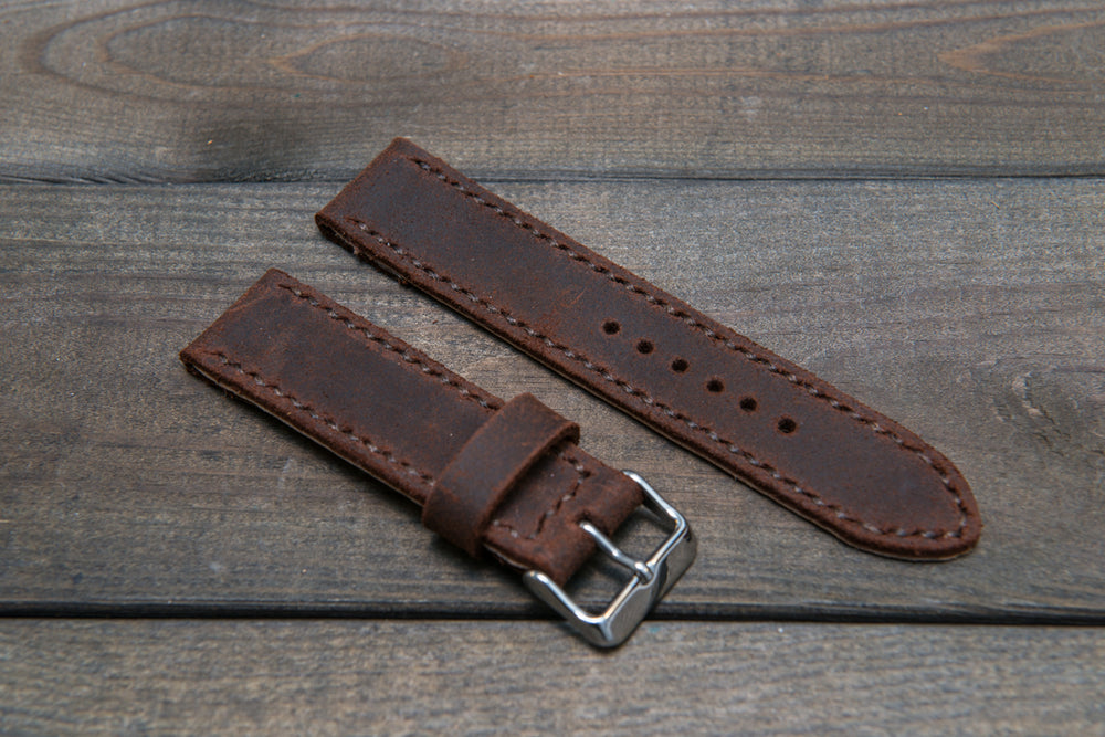 Suede vintage leather watch strap (SNUFF), handmade in Finland -22 mm, 120-80 mm - finwatchstraps