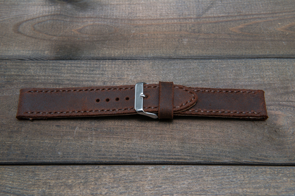 Suede vintage leather watch strap (SNUFF), handmade in Finland -22 mm, 120-80 mm