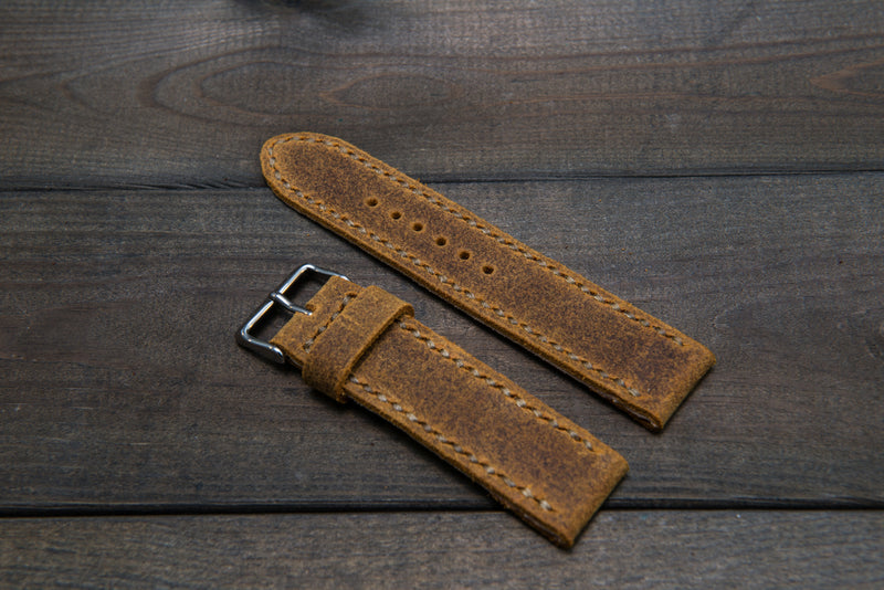 Suede vintage leather watch strap (Cuba Commander), handmade in Finland -14 mm, 16mm, 17 mm, 18mm, 19 mm, 20mm, 21mm, 22mm, 23 mm,  24mm, 25 mm, 26 mm.