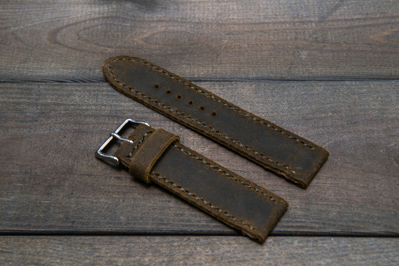 Suede vintage leather watch strap (Chase commander), handmade in Finland 22 mm, 120-80 mm